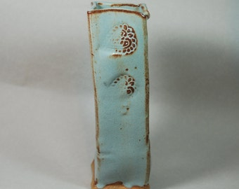 TALL shino blue decorative vase, pottery, stoneware, ceramic, ready to ship, handmade V7