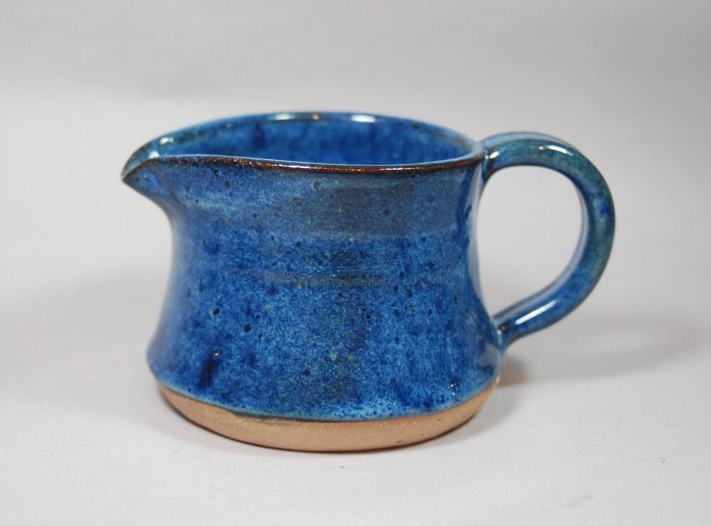 Blue Stoneware Ceramic Pottery Handmade Pitcher Ready To