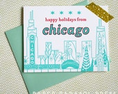 Happy Holidays Chicago Cityscape Letterpress Card