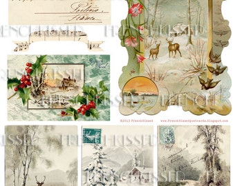 French CANADIAN Christmas 8x10 Collage Sheet Instant Download Antique French postcards Digital scan