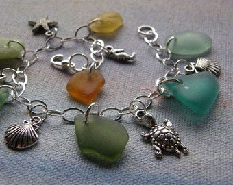 Reserved for Marcy- Sterling Silver Seaglass Bracelet- Sitka