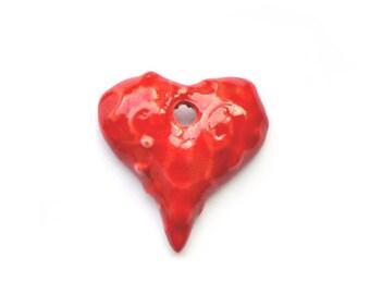 Porcelain heart,  onesided red