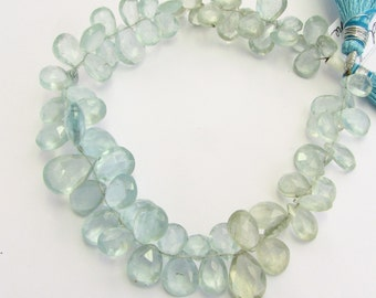 Light Shaded Aquamarine Faceted Flat Teardrop Pear Briolettes Gemstones Mixed Sizes from 10mm - 13mm (Half Strand)