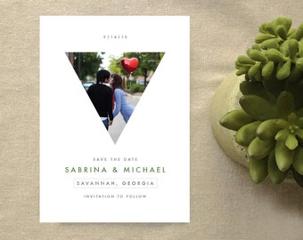 Geometric Triangle Photo Save the Date Card, Modern Abstract