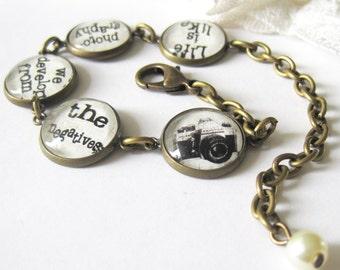 Photography Quote Antique Brass Bracelet