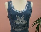 Sequined Embellished Short Denim Vest With Side Zipper
