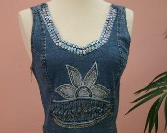 Sequined Embellished Short Denim Vest With Side Zipper, Denim Vest, Fancy Vest, Blue Vest, Jean Vest, Crop Vest, Short Vest