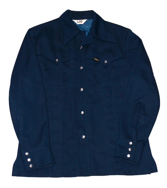 Vintage 1970s lee m r navy pearl snap button by for Mens shirts with snaps instead of buttons