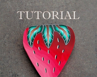 2-in-1 PDF Tutorial, STRAWBERRY and LEAF polymer clay canes