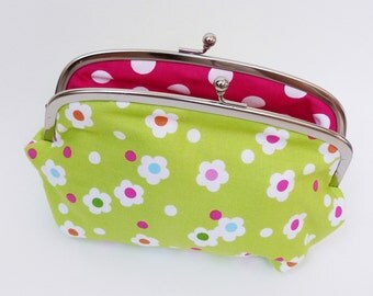 Cosmetic bag - Green modern floral fabric