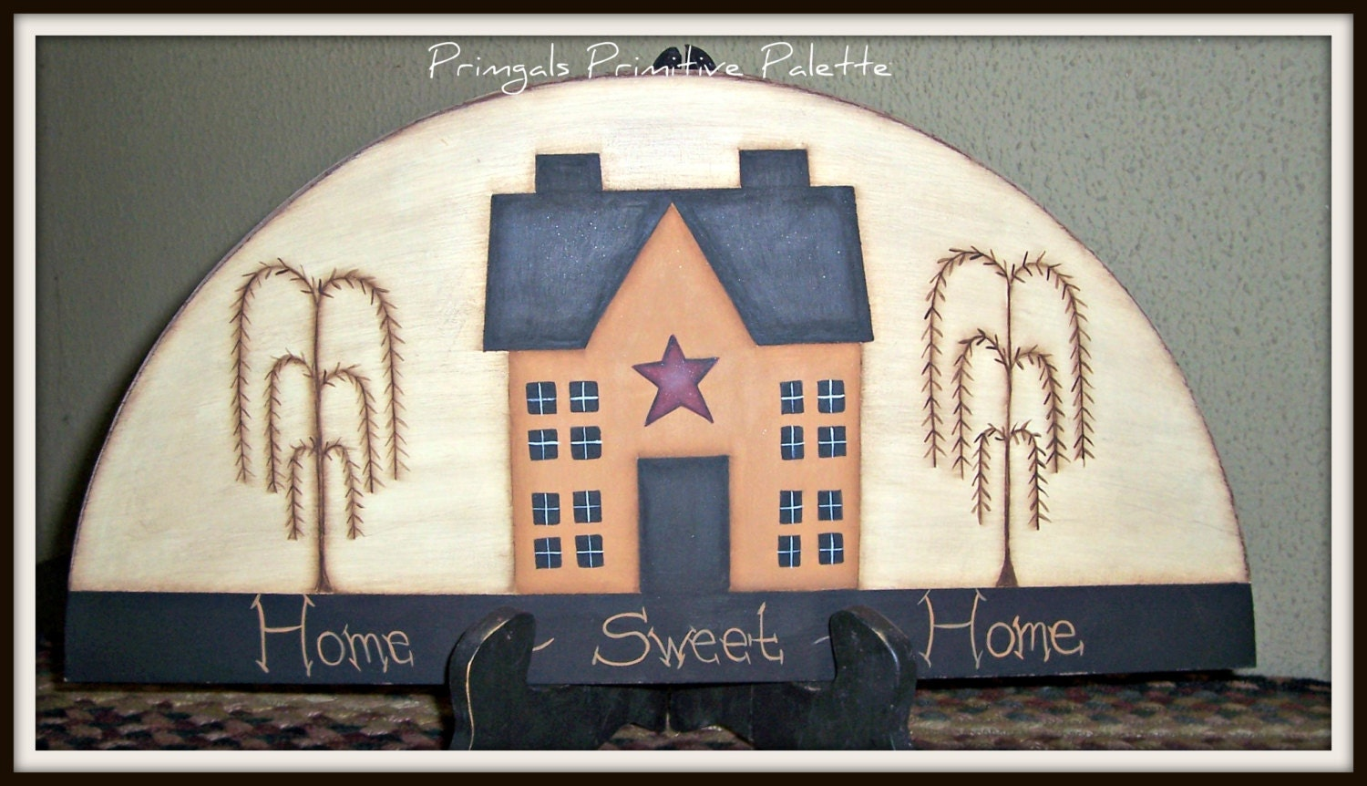 Saltbox House Wood Door Crown Primitive Topper Home Decor