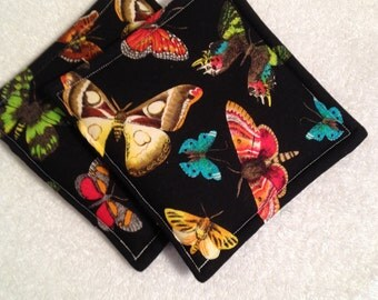 Butterfly Print Potholders set of 2