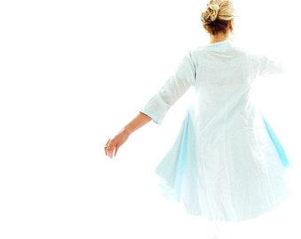 Light Blue Cheesecloth Tunic Dress