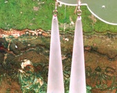 Frosted Dew Drops - lucite pendant moonglow earrings
