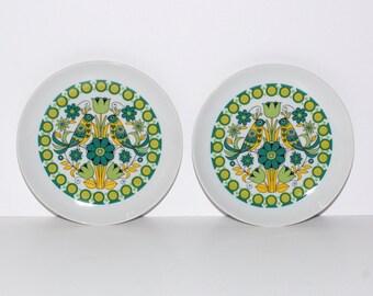 MOD Porcelain Bird Plates, Pair