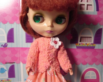Peachy Cardigan Sweater for Blythe and Pullip