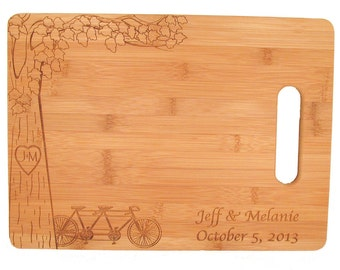 Tandem Bike Cutting Board - Personalized Bamboo Cutting Board - Tree and Bicycle Design
