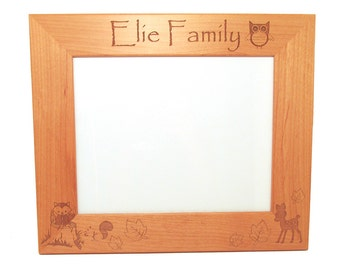 Woodland Picture Frame - Personalized Wooden Frame - Choose Your Size