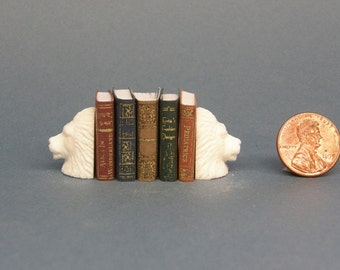 Lions Dollhouse Miniature Set of Bookends