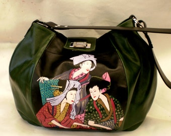 Handpainted Japanese green and black leather bag