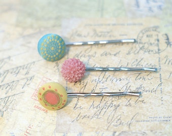 Covered Button Bobby Pin - Set of three - Pink and Turquoise