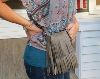 Cell Phone Leather Fringe Pouch