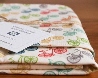 Colorful Bicycle Baby Blanket, Multicolour Bike Baby Gift for Cyclists, Organic Cotton Flannel Receiving Blanket, Baby Shower Gift; Ride