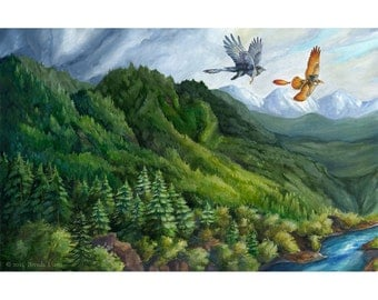 Vhachuir - Sanctuary - Fantasy Forest Mountain Landscape Gryphon Print