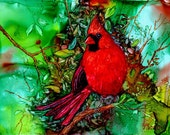 Cardinal In the Tree AIArt 5x7 Original Painting