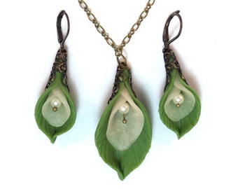 Calla Lily Leaf Jewelry Set - Calla Lily Leaf Jewelry Collection