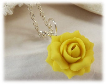 Dainty Yellow Rose Necklace - Yellow Rose Jewelry Collection, Yellow Flower Necklace