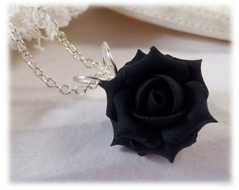 Dainty Black Rose Necklace - Black Rose Jewelry, Black Flower Necklace