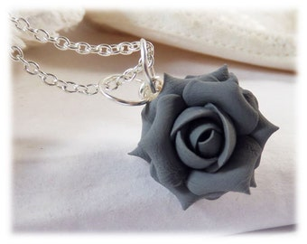 Dainty Gray Rose Necklace - Gray Rose Jewelry, Gray Flower Necklace