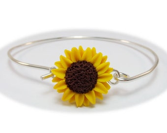 Sunflower Bracelet Sterling Silver Bangle - Sunflower Jewelry
