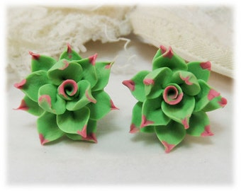 Pink Tip Succulent Earrings Stud or Clip On - Pink Tip Succulent Jewelry