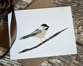 Chickadee Card of Original Collage