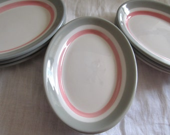 SALE Vintage 1950's Set Of 9 Pink And Gray Striped Oval Side Dishes, Dipping Plates,Snack Plates Was  29.99 Now 24.99