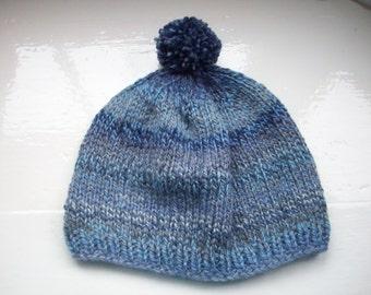 Pompom hat, beanie, unisex, hand knitted, warm wool mix