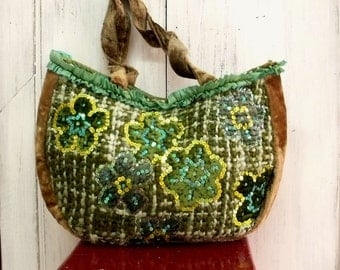 SALE Green sequins flowers tote bag