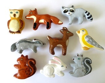 Woodland Animal Ceramic Drawer Knobs - fox, owl, rabbit, raccoon, badger, deer, bird, squirrel