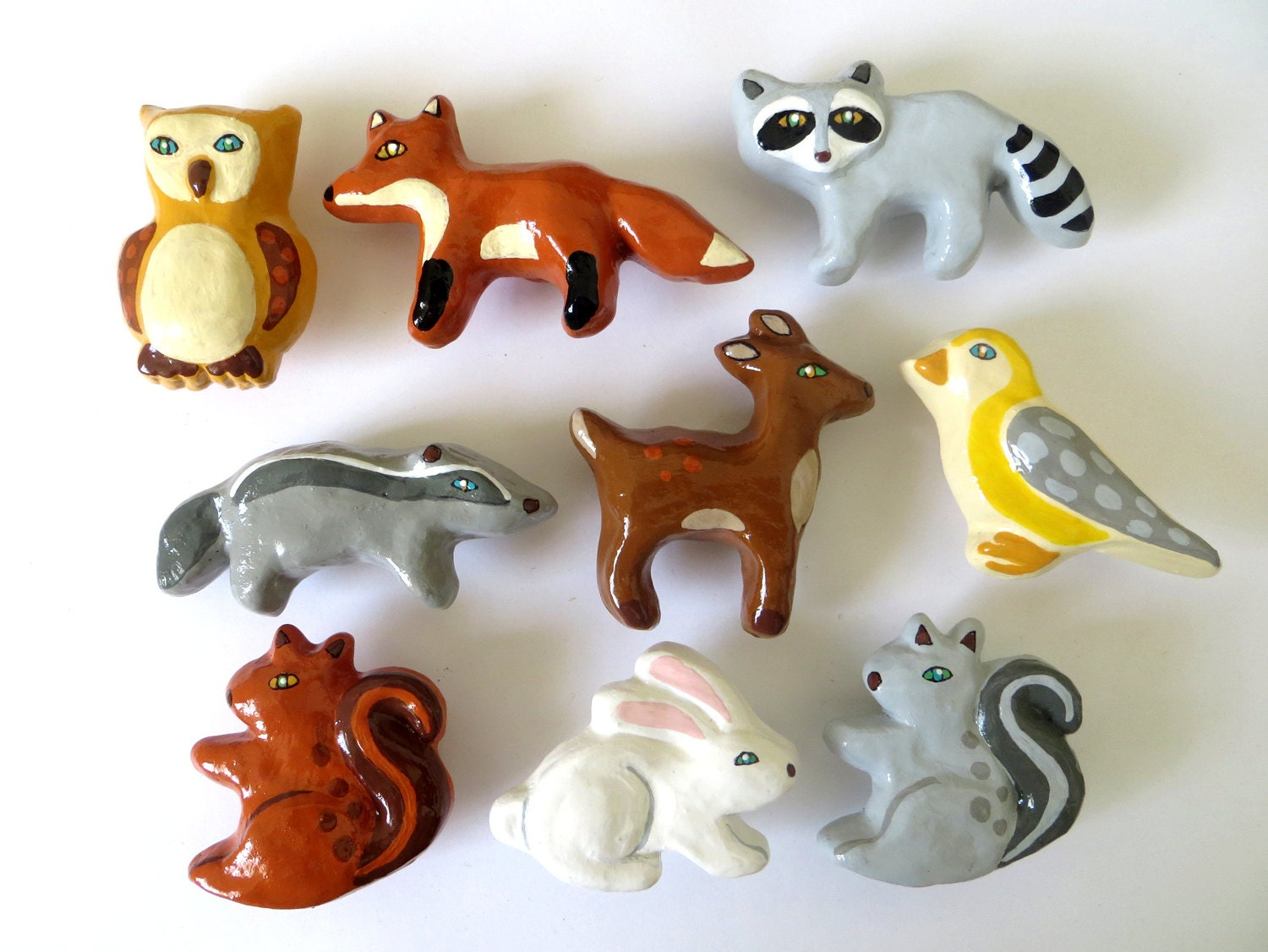 Woodland Animal Ceramic Drawer Knobs Fox Owl Rabbit
