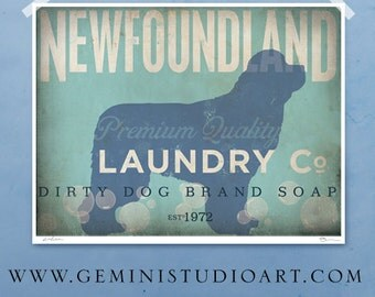 Newfoundland laundry company laundry room artwork giclee archival signed artists print Pick A Size