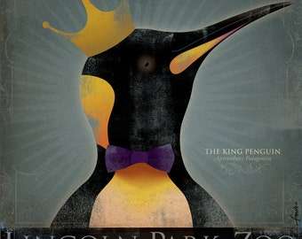 The King Penguin Lincoln Park Zoo Chicago vintage style artwork on canvas by stephen fowler