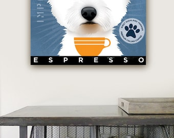 West Highland Terrier Westie Coffee Company original graphic art  on gallery wrapped canvas by stephen fowler