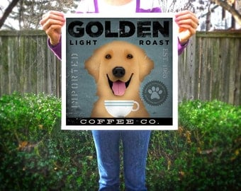 Golden Retriever Coffee Company original graphic illustration giclee archival print by Stephen fowler