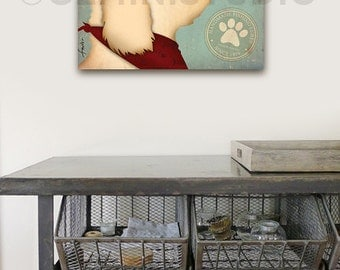 Goldendoodle fishing Bait and Tackle fishing illustration Canvas artwork graphic on gallery wrapped canvas by Stephen Fowler