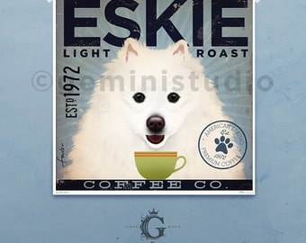 American Eskimo Eskie dog coffee company illustration giclee signed artists print by Stephen Fowler