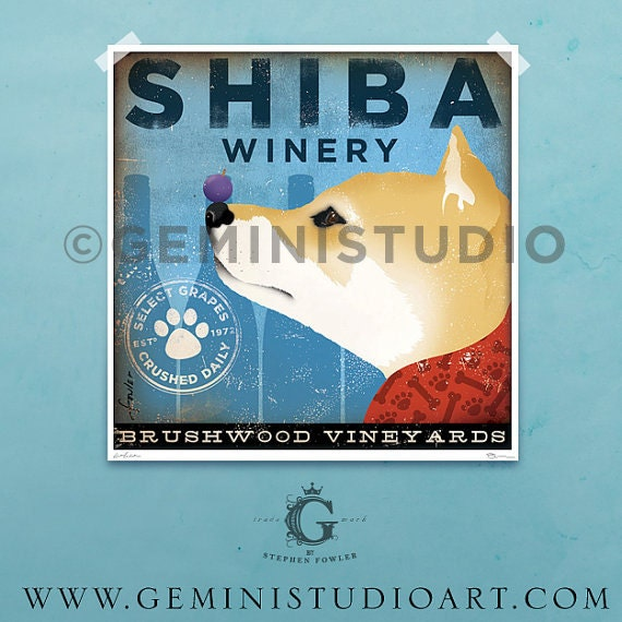 Shiba Inu dog Winery illustration giclee archival signed artist's print by stephen fowler