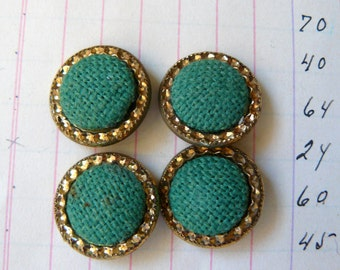 Vintage Set of 4 Buttons - Kelly Green Linen with pretty gold rims - great color and dimension - perfect for sewing, crafting