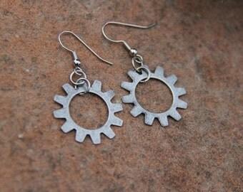Bike Earrings with Open Gear Brushed Silver